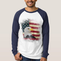 Bold Distressed US Flag, Bald Eagle Design T-Shirt