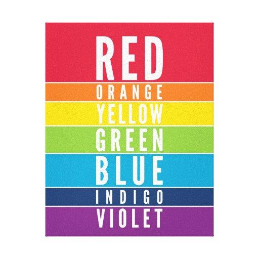 bold educational classroom rainbow color art chart canvas print zazzle. Black Bedroom Furniture Sets. Home Design Ideas