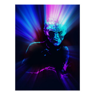 bold electric blue creep from woods print
