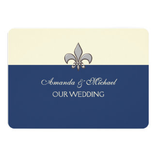 Bold Elegance Silver Fleur de Lis Save the Date Card