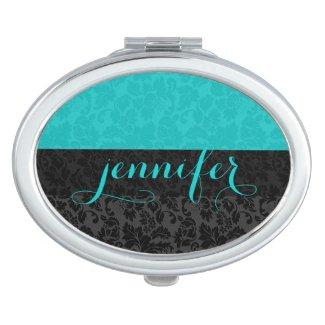 Bold Elegant Black & Turquoise Floral Damasks Travel Mirror