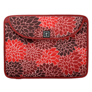 Bold Expressions Cute Red Dahlia Flower Pattern MacBook Pro Sleeve