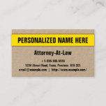 [ Thumbnail: Bold & Eye-Catching Attorney-At-Law Business Card ]