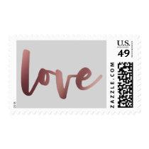 Bold Faux Rose Gold Foil Script Love & Light Gray Postage