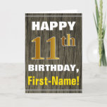 [ Thumbnail: Bold, Faux Wood, Faux Gold 11th Birthday + Name Card ]