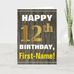 [ Thumbnail: Bold, Faux Wood, Faux Gold 12th Birthday + Name Card ]