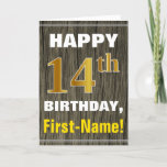 [ Thumbnail: Bold, Faux Wood, Faux Gold 14th Birthday + Name Card ]