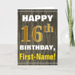 [ Thumbnail: Bold, Faux Wood, Faux Gold 16th Birthday + Name Card ]