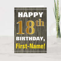 Bold, Faux Wood, Faux Gold 18th Birthday   Name Card