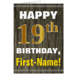 [ Thumbnail: Bold, Faux Wood, Faux Gold 19th Birthday + Name ]
