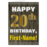 [ Thumbnail: Bold, Faux Wood, Faux Gold 20th Birthday + Name ]