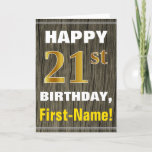[ Thumbnail: Bold, Faux Wood, Faux Gold 21st Birthday + Name Card ]