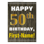 [ Thumbnail: Bold, Faux Wood, Faux Gold 50th Birthday + Name ]