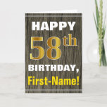 [ Thumbnail: Bold, Faux Wood, Faux Gold 58th Birthday + Name Card ]