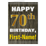 [ Thumbnail: Bold, Faux Wood, Faux Gold 70th Birthday + Name ]