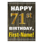 [ Thumbnail: Bold, Faux Wood, Faux Gold 71st Birthday + Name ]