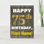 [ Thumbnail: Bold, Faux Wood, Faux Gold 75th Birthday + Name Card ]