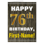 [ Thumbnail: Bold, Faux Wood, Faux Gold 76th Birthday + Name ]