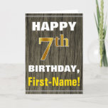 [ Thumbnail: Bold, Faux Wood, Faux Gold 7th Birthday + Name Card ]