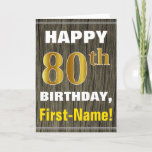 [ Thumbnail: Bold, Faux Wood, Faux Gold 80th Birthday + Name Card ]