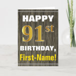 [ Thumbnail: Bold, Faux Wood, Faux Gold 91st Birthday + Name Card ]