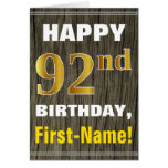 [ Thumbnail: Bold, Faux Wood, Faux Gold 92nd Birthday + Name ]
