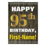 [ Thumbnail: Bold, Faux Wood, Faux Gold 95th Birthday + Name ]