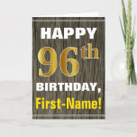 [ Thumbnail: Bold, Faux Wood, Faux Gold 96th Birthday + Name Card ]