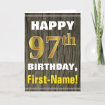 [ Thumbnail: Bold, Faux Wood, Faux Gold 97th Birthday + Name Card ]
