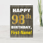 [ Thumbnail: Bold, Faux Wood, Faux Gold 98th Birthday + Name Card ]