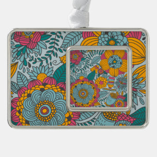 Bold Floral and Vines Silver Plated Framed Ornament