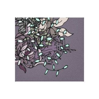 Bold Floral Design with Black Lines Wall Art
