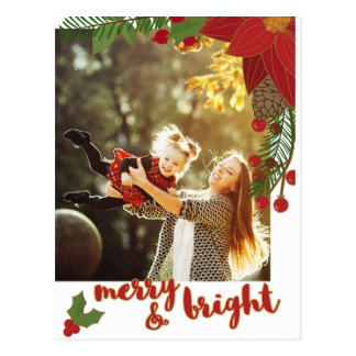 Bold Floral Merry and Bright Calligraphy Photo Postcard