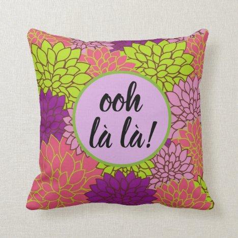 Bold Floral Ooh la la!/ Monogram Pink Green Purpl Throw Pillow