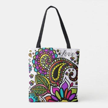 Beach Themed Bold Floral Paisley Love Beach Bag