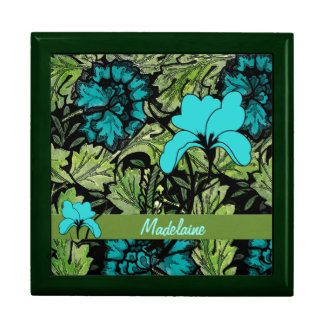 Bold Floral Print with a Retro Pattern Custom Jewelry Box