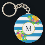 "Bold Floral Tropical Blue White Striped Monogram Keychain<br><div class=""desc"">This colorful girly design features a stunning bouquet of bright, beautiful flowers in bold shades of orange, yellow, blue, pink, and purple against a high-contrast background of turquoise blue and white stripes. In the center is a monogram against a gold-edged white circle. You can personalize this design for yourself or...</div>"