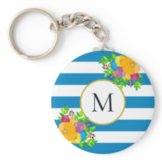 Bold Floral Tropical Blue White Striped Monogram Keychain