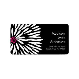 Bold Flower on Black Return Address Labels.