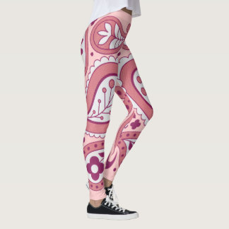 Bold Flowered Abstract Paisley Design with Daisies Leggings
