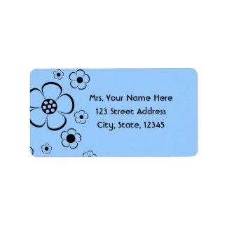Bold Flowers Blue Address Lables Label