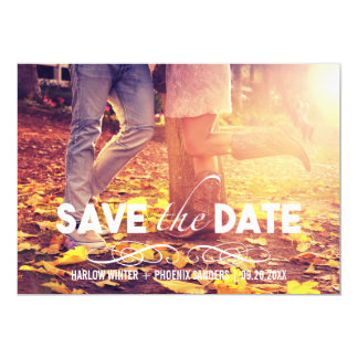 Bold Font Simple Photo Save the Date 5x7 Paper Invitation Card