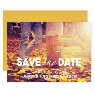 Bold Font Simple Photo Save the Date Card