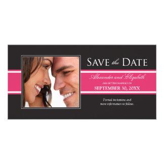 Bold Fuchsia Stripe Save the Date Announcement