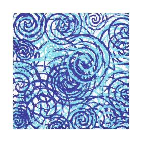 Bold Funky Blue Chaos Swirl Pattern Canvas Print