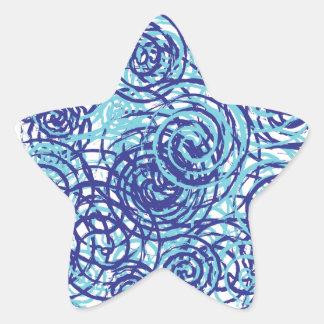 Bold Funky Blue Chaos Swirl Pattern Star Sticker