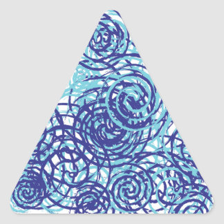 Bold Funky Blue Chaos Swirl Pattern Triangle Sticker
