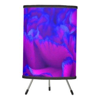 Bold Fuschia Pink and Blue Carnation Flower Tripod Lamp