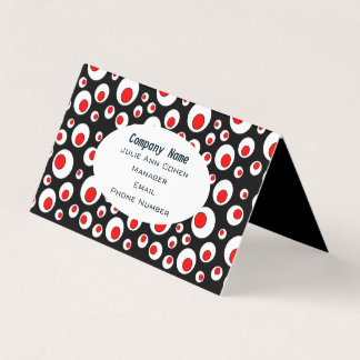 Bold Geometric Abstract Circles Red White on Black Business Card