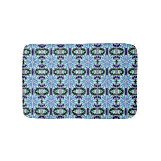 bold geometric blue bathroom mat